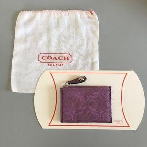 COACH card case - embroidered logo purple
